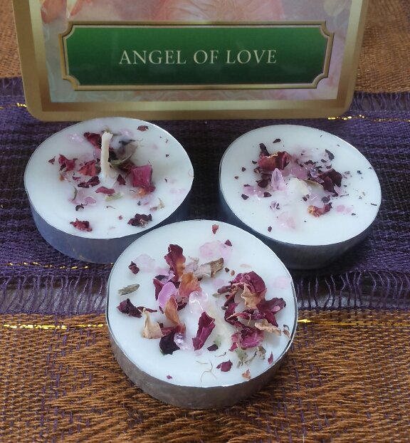 SpellBinders Rose Quartz tea light spell candles 4 pack