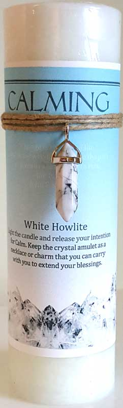 Calming pillar candle with White Howlite pendant - Click Image to Close