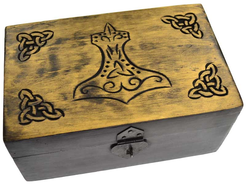 "5"" x 8"" Handcrafted box w Thor's Hammer"
