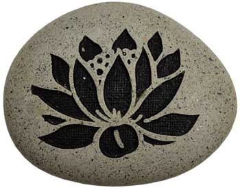 "Lotus engraved stone pebble 2 3/4""x 3 1/2"""