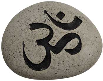 "Om engraved stone pebble 2 3/4""x 3 1/2"""