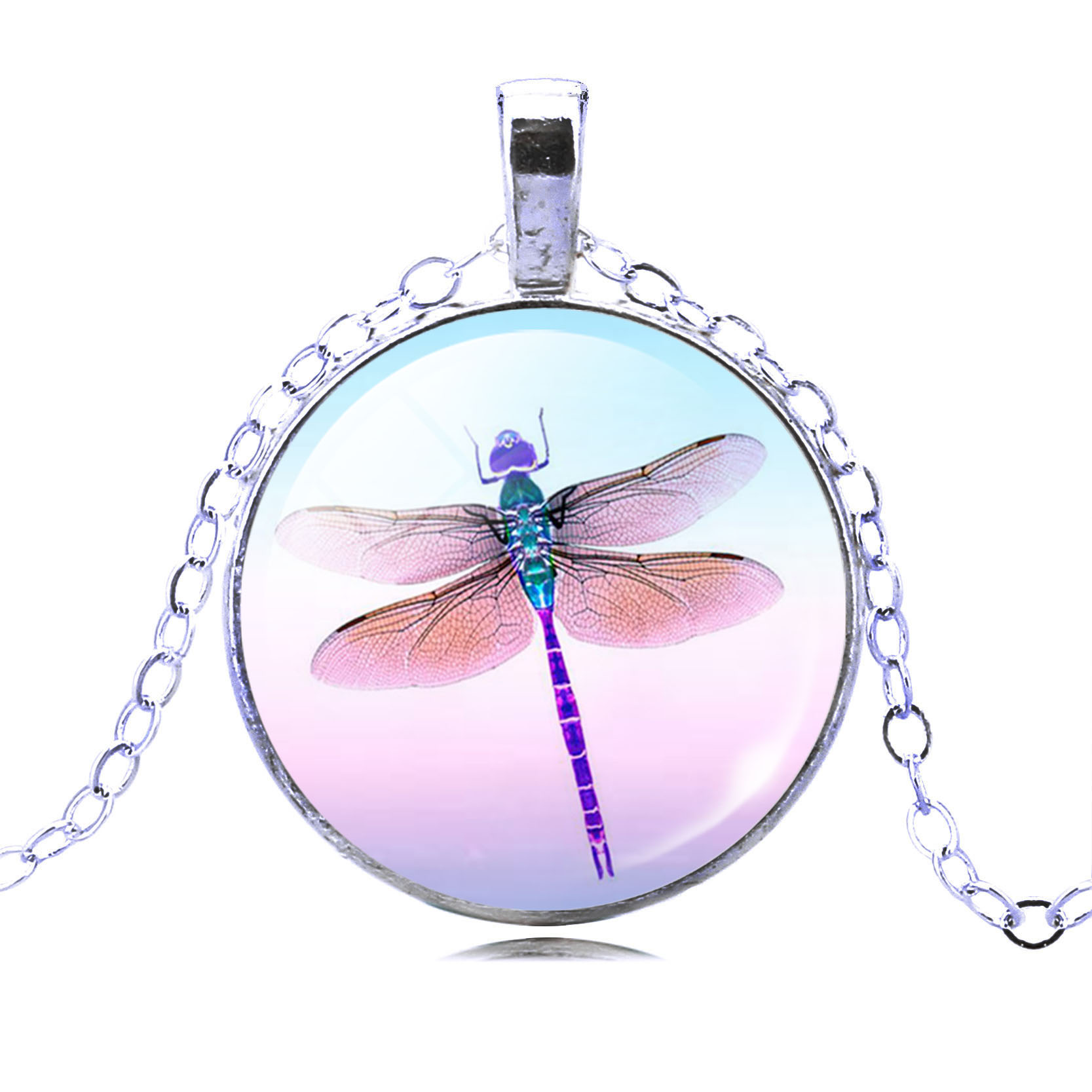 Dragonfly Glass Cabochon Silver Pendant Necklace