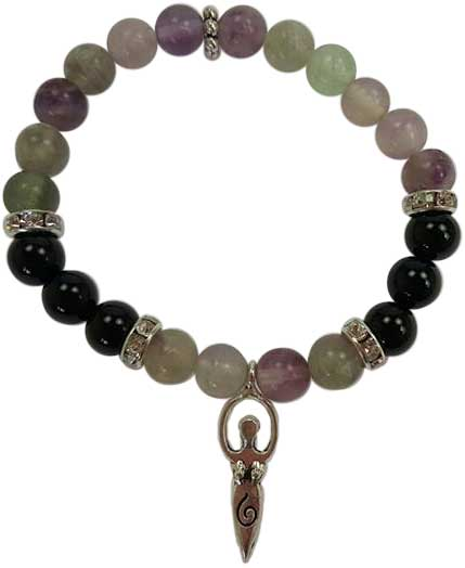 8mm Flourite/ Black Stone with Goddess