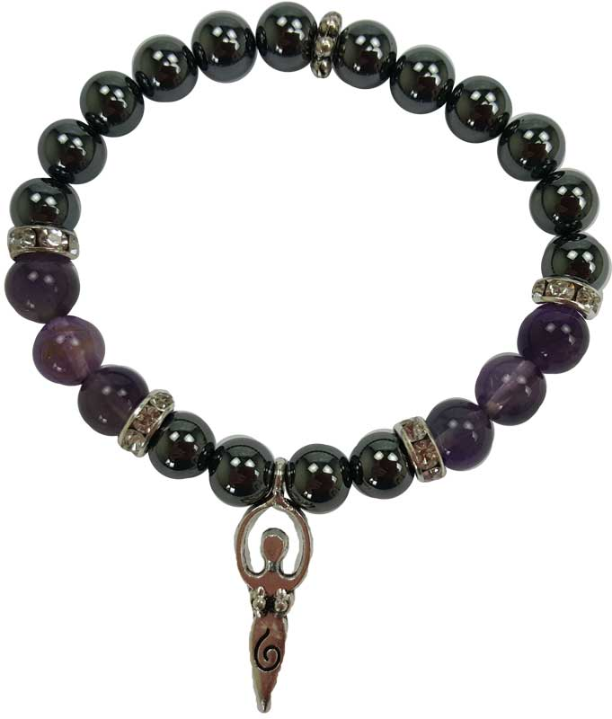8mm Hematite/ Amethyst with Goddess