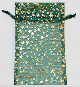 Green Organza Pouch w/ Gold Stars